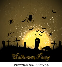 Halloween party with rat and bats. Invitation card to Halloween vector background. The inhabitants of the cemetery on the background of the moon