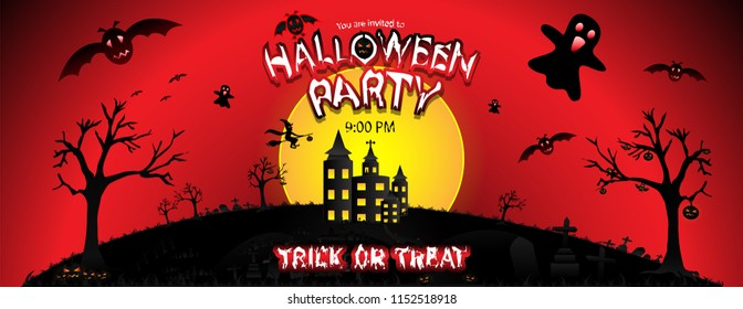 Halloween Party with the scary background, haunted castle, full moon, flying witch, ghosts, bats, lantern of pumpkins, graveyard, tree, grass and sky. Vector illustration template.