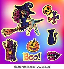 Halloween party set with cartoon doodle sticker Characters in comics style with contour. Back to school young trendy style. With, skull and bones, evil tree, pumpkin, black cat