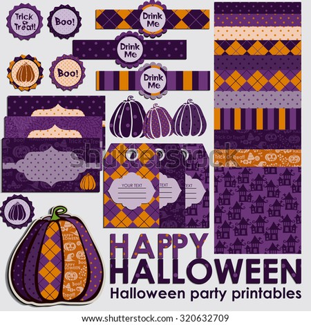 Halloween party set. Halloween scrapbook collection with seamless patterns.