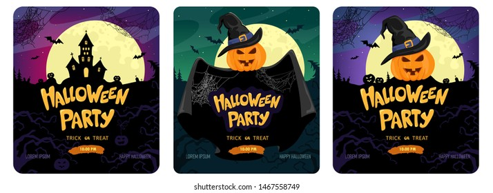 Halloween party, set of three bright banners. Vector banner design.Helloween
