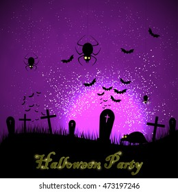 Halloween party with shine moon. Invitation card to Halloween vector background. The inhabitants of the cemetery on the background of the moon