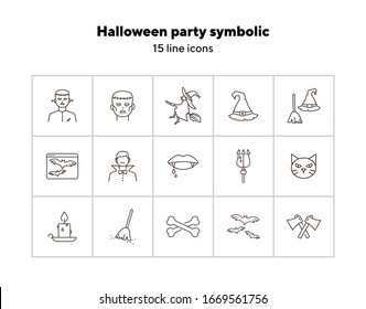 Halloween party symbolic line icons. Sweeping broom, Frankenstein, witch. Halloween concept. Vector illustration can be used for topics like holiday, festivals, celebration