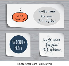 Halloween party template with stylized funny sketched pumpkin. Festive design for invitation cards, banner, sheets, stickers and poster. lettering design. festive halloween elements