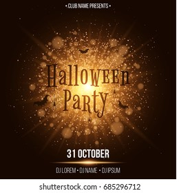 Halloween party. Text in the style of Horor. Abstract bright flash of light with golden lights. Black spiders and bats. Names of the club and DJ. Invitation card for the holiday. Vector illustration