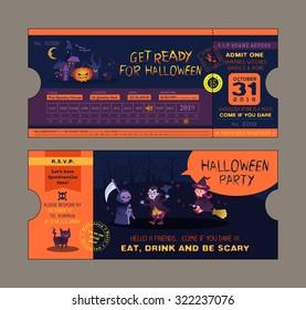 halloween party ticket card vector template