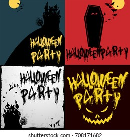 Halloween party vector flan design backgrouns and template set.