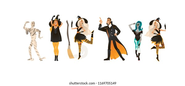 Halloween party vector illustration set with people in different carnival costumes having fun in cartoon style isolated on white background for autumn holiday congratulation or invitation.