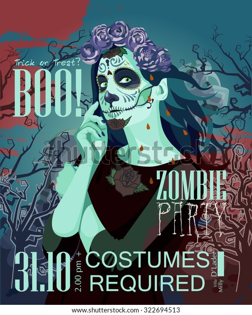 Halloween Party Vector Invitation Card Zombie Stock Image