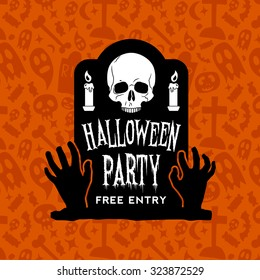 halloween party vintage badge on orange seamless background. happy halloween emblem with grave, skull, zombie hands, candle