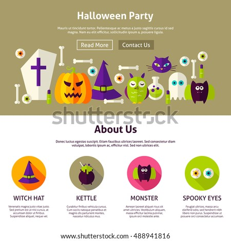 halloween party web design template flat stock vector royalty free