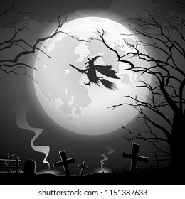 Halloween party witch ride, Halloween party concept scary design background, vector illustration
