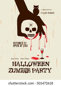 Halloween Party with zombie hand and skull on Grunge background / Zombie Party with Halloween.