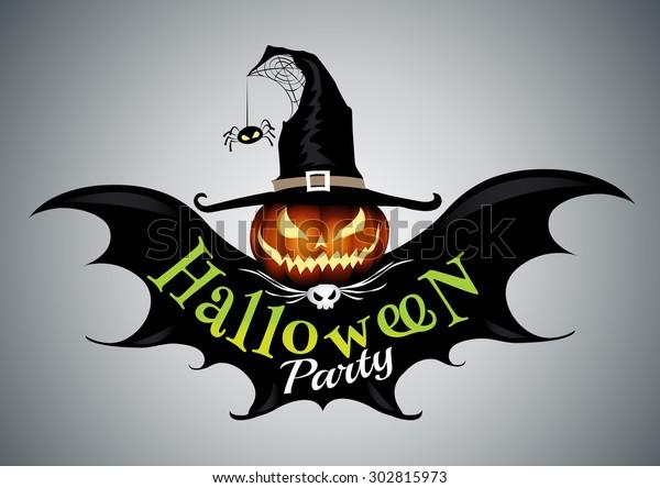 Halloween party,drawn Halloween symbols pumpkin,logo design, vector illustration