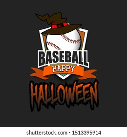 Halloween pattern. Baseball logo template design. Baseball ball with witch hat. Pattern for banner, poster, greeting card, party invitation. Vector illustration