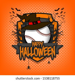 Halloween pattern. Baseball logo template design. Baseball ball in a hat on a background of spooky trees and bats with a shield. Pattern for banner, poster, party invitation. Vector illustration