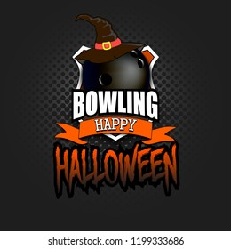 Halloween pattern. Bowling logo template design. Volleyball ball with witch hat. Pattern for banner, poster, greeting card, party invitation. Vector illustration