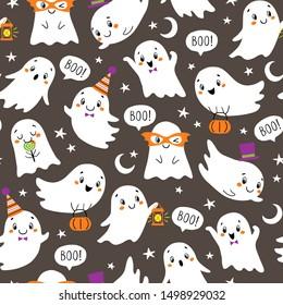 Halloween  pattern of cute little ghosts