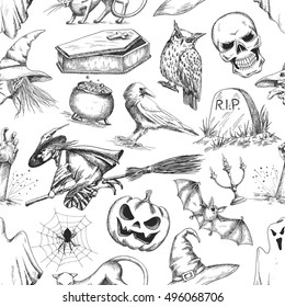 Halloween pattern of doodle sketch symbols and characters for halloween holiday celebration design. Elements of witch, pumpkin, owl, coffin, cauldron, bat for greeting background