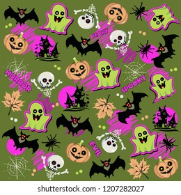 Halloween pattern, doodles gost, pumpkin, bat, texture, background, vector illustration