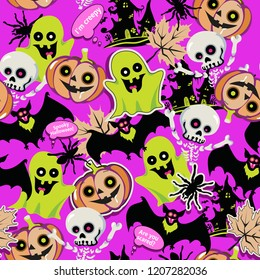 Halloween pattern, doodles gost, pumpkin, bat, seamless texture, background, vector illustration