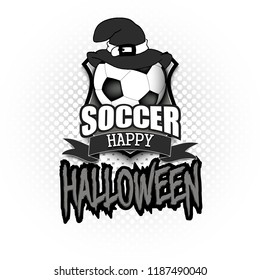 Halloween pattern. Football logo template design. Soccer ball with witch hat. Pattern for banner, poster, greeting card, party invitation. Vector illustration