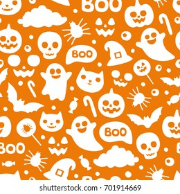 Halloween pattern. Funny cartoon characters pumpkin, ghost, cat, bat, candy, spider on orange background