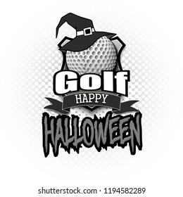 halloween pattern golf ball witch hat stock vector royalty free