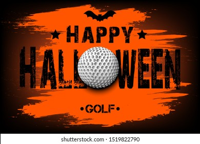 Halloween pattern. Happy halloween and golf ball. Golf logo template design. Design pattern for banner, poster, greeting card, flyer, party invitation. Vector illustration