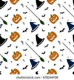 Halloween pattern on white background. Pumpkin, ghorst, hat, bat, broom. Vector illustration.