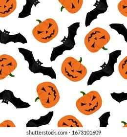Halloween pattern with pumpkin and bats. Halloween background with pumpkin and bats. Seamless pattern design with bats and halloween pumpkins