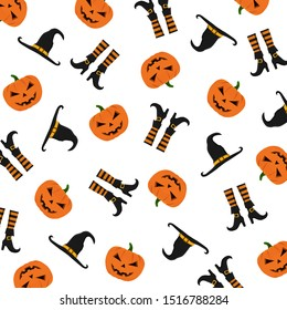 Halloween pattern with pumpkins, witch's hat and boots