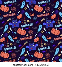 Halloween pattern with sinister cat, bat, pumpkin, knife, ghost, drop of blood, web and bloody eye. Seamless vector illustration