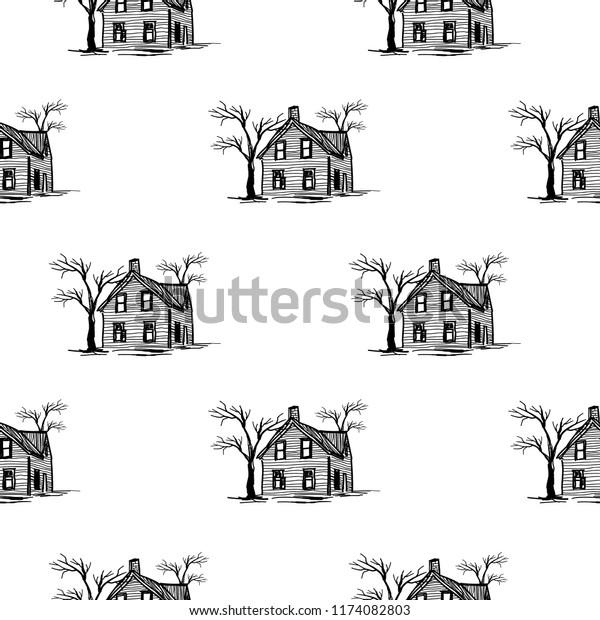 Halloween Spooky House Drawing.Halloween Pattern Spooky Haunted House Drawing Stock Vector