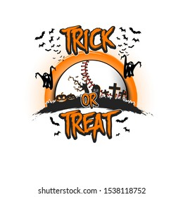 Halloween pattern. Trick or treat. Baseball template design. Baseball ball, pumpkins, spooky tree, crosses, coffin, ghost and bat. Pattern for banner, poster, party invitation. Vector illustration