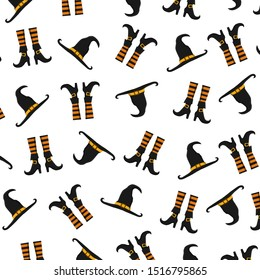 Halloween pattern with witch's hat and boots. Halloween background