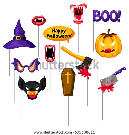 Halloween Photo Booth Props Accessories Festival Stock Vector