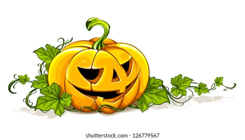 Halloween picture with pumpkin isolated on white. Classic cartoon style.
