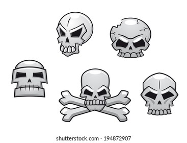 Halloween or Pirate themed skull set with a skull and crossbones and four additional skull designs