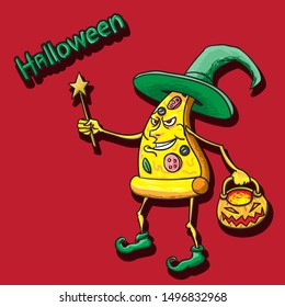 Halloween pizza character in witch hat vintage boots magic wand and pumpkin basket in hand on isolated vector background. esp 10
