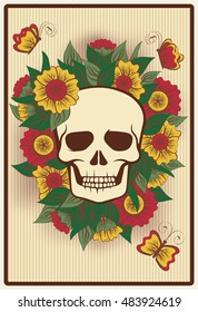Halloween poker card with skull, vector illustration