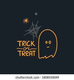 Halloween postcard. Ghost, cobweb and spiders and lettering TRICK OR TREAT on a dark background.