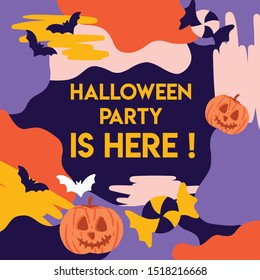 Halloween poster for card invitation or party poster, banner, and social media feeds. With the modern fun pattern it will make your Halloween party more appealing