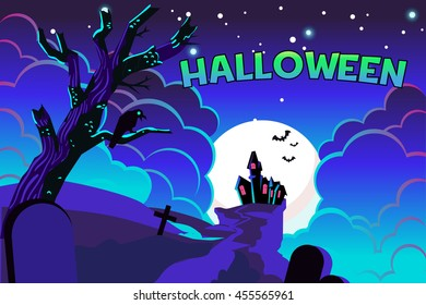 Halloween poster castle background with space