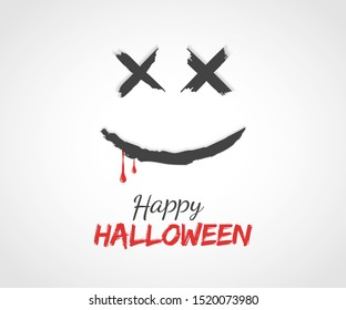 Halloween Poster Design. Minimal Party Invitation Card. Blood Dripping from Dead Smiling face. Vector illustration.