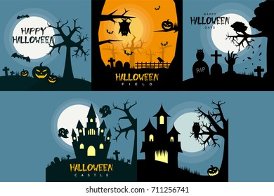 Halloween Poster Design Set