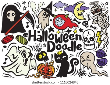 Halloween poster design set with vector vampire  witch  mummy  wolf man  ghost  reaper character