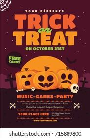 Halloween poster design. Trick or treat vector illustration