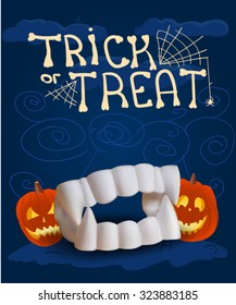 Halloween poster with fake vampire teeth, vector illustration