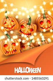 Halloween poster or flyer design. Pumpkin scare spooky face heads and glowing garland lights over orange background cover by piiling off paper. Vector illustration.